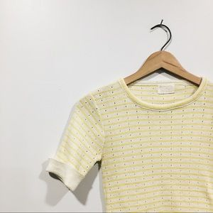 Vintage Polyester Striped Yellow Sweater
